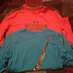 Boys Youth Large LSleeve Under Armour/Nike Shirts